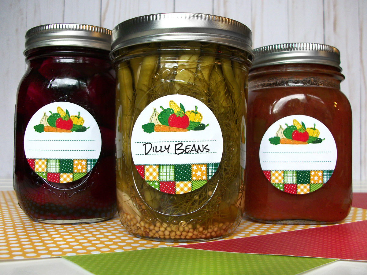 Country Quilt Vegetable Mason Canning Jar Labels | CanningCrafts.com