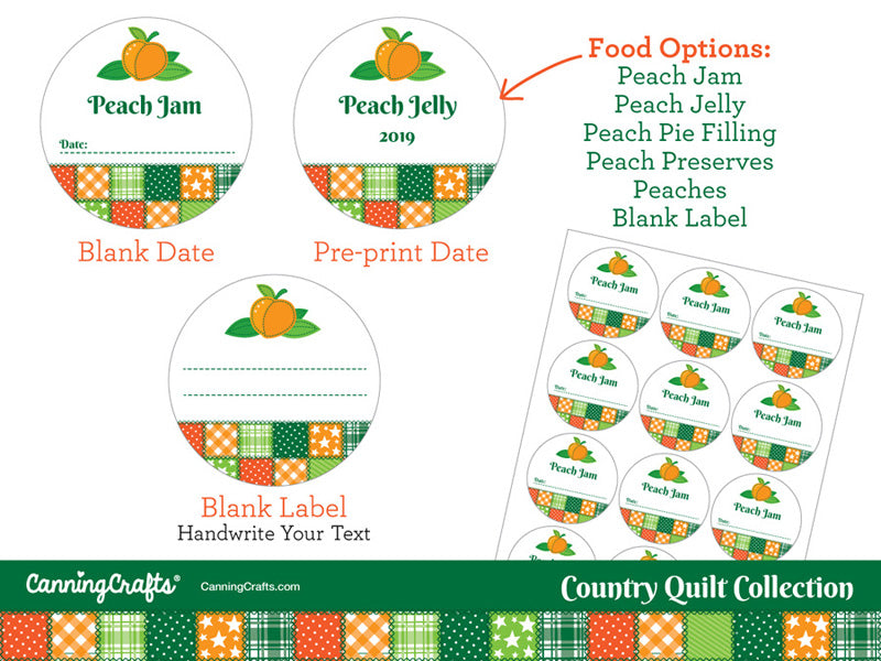 Country Quilt Peach Canning Labels | CanningCrafts.com
