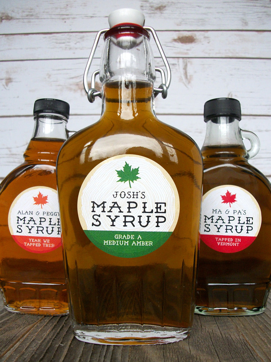 Custom Cross Cut Wood Maple Syrup Bottle Labels | CanningCrafts.com