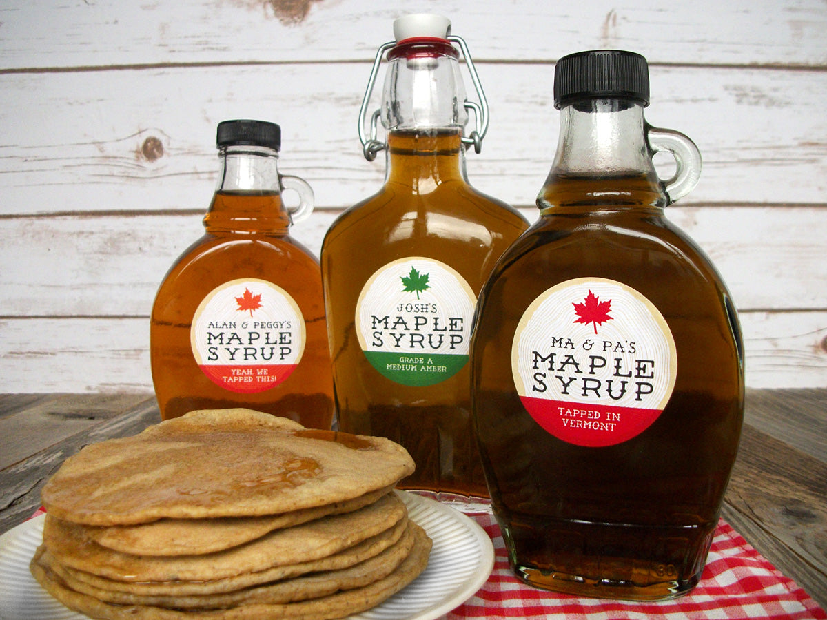 Custom Cross Cut Wood Maple Syrup Labels | CanningCrafts.com