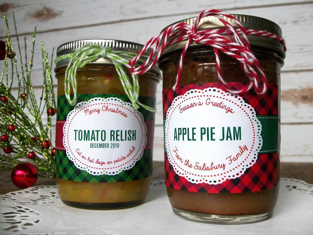Custom Buffalo Plaid Christmas Rectangle Jam & Jelly Jar Labels | CanningCrafts.com