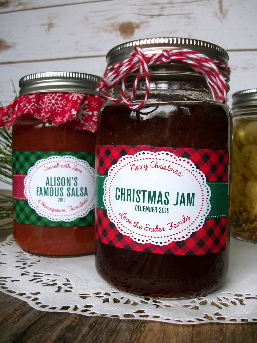 Custom Buffalo Plaid Christmas Rectangle Mason Canning Jar Labels | CanningCrafts.com