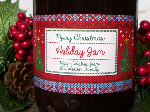 Custom Home Knit Christmas Rectangle Canning Labels | CanningCrafts.com