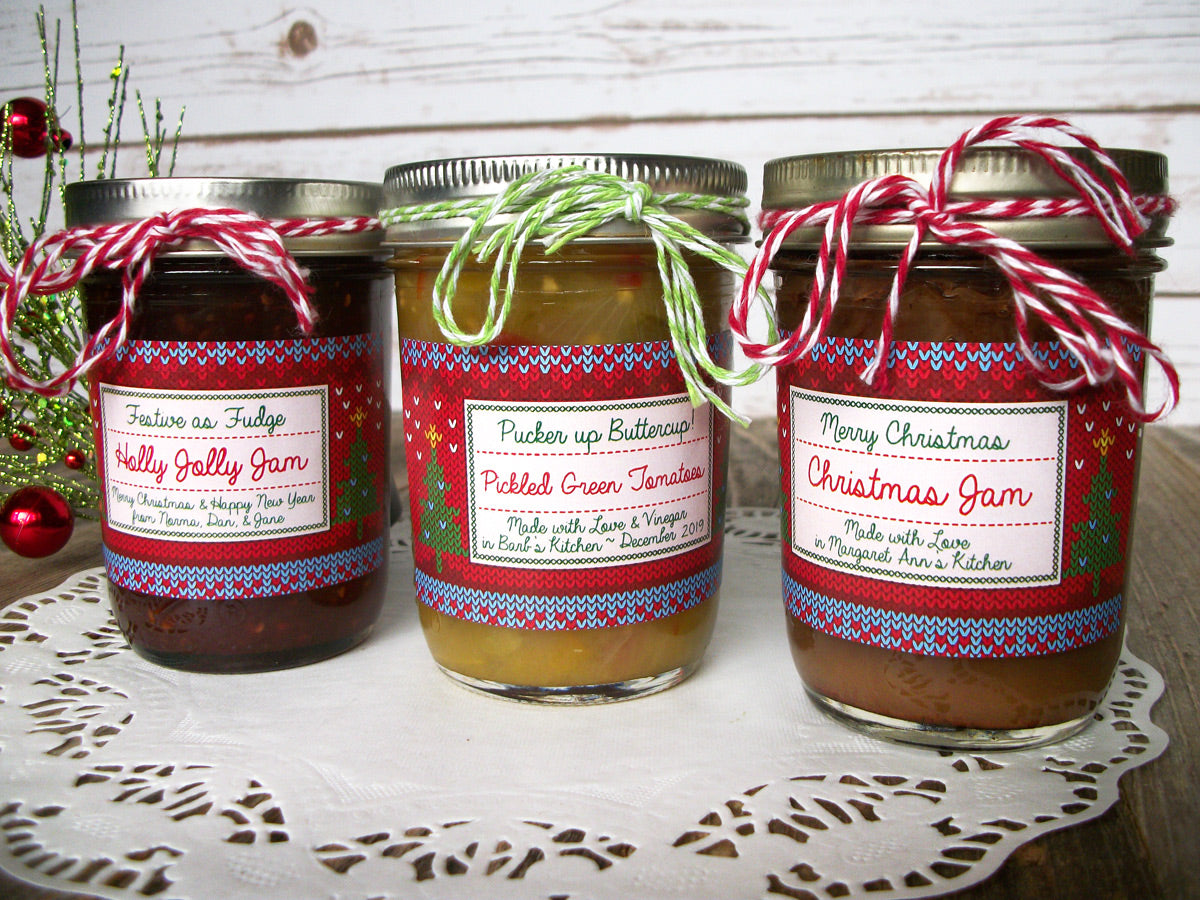 Custom Home Knit Christmas Rectangle Jam & Jelly Jar Labels | CanningCrafts.com