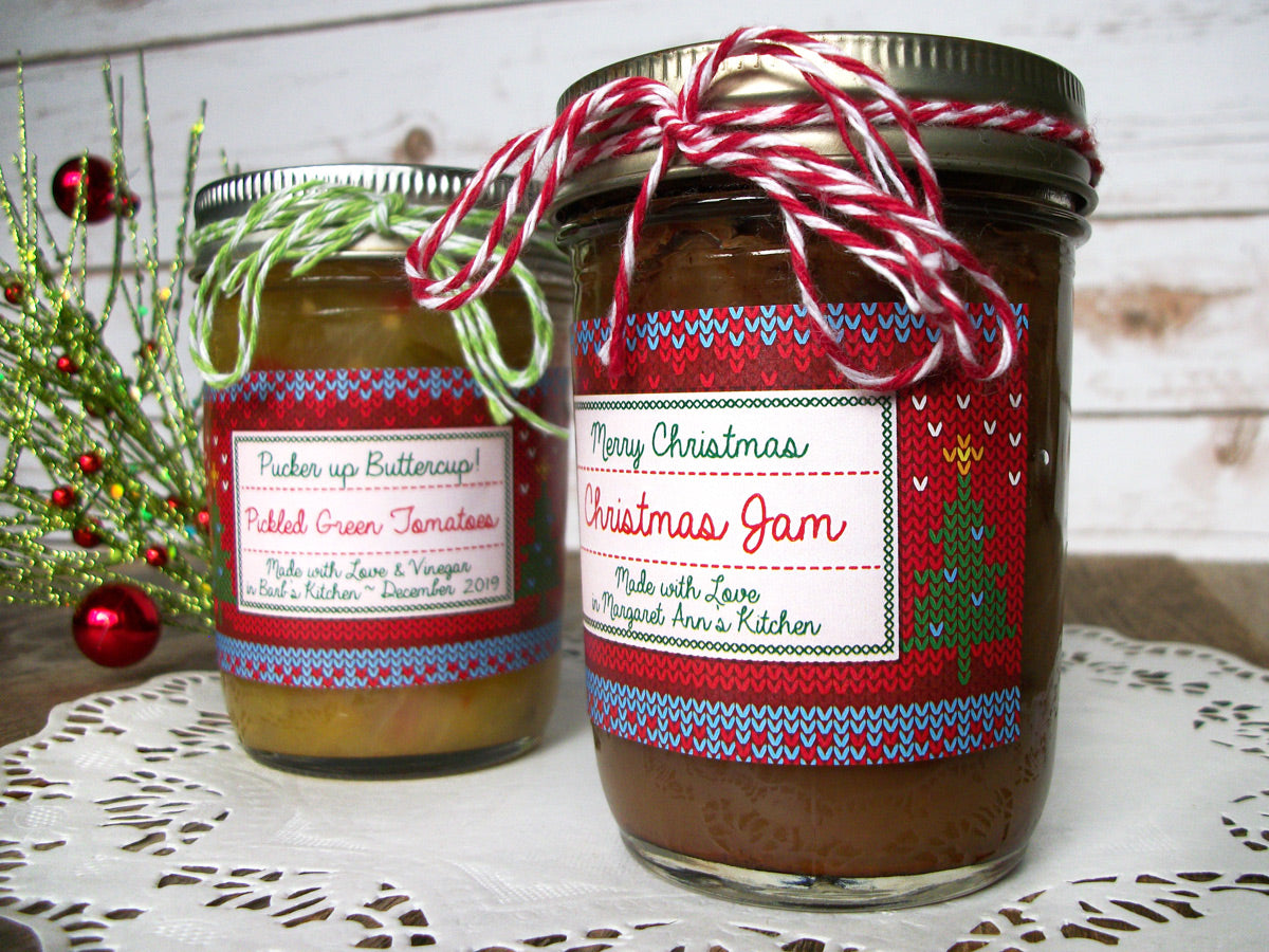 Custom Home Knit Christmas Rectangle Canning Jar Labels | CanningCrafts.com