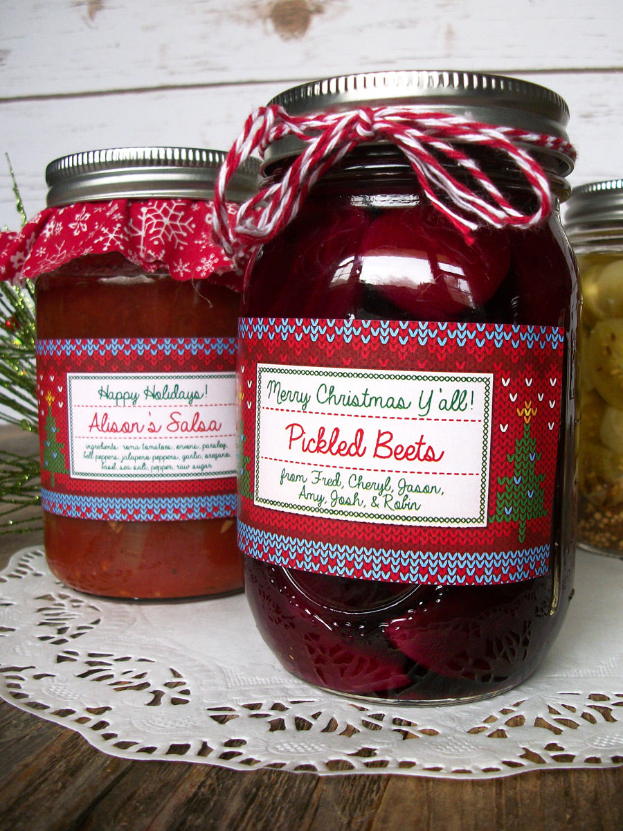 Custom Home Knit Christmas Rectangle Mason Canning Jar Labels | CanningCrafts.com