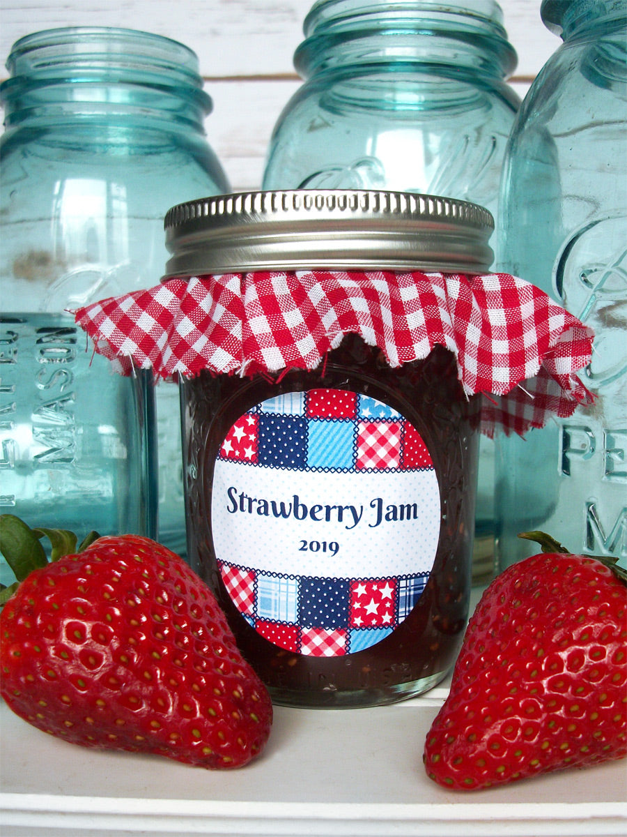 Custom Country Quilt Canning Jam Jar Labels | CanningCrafts.com