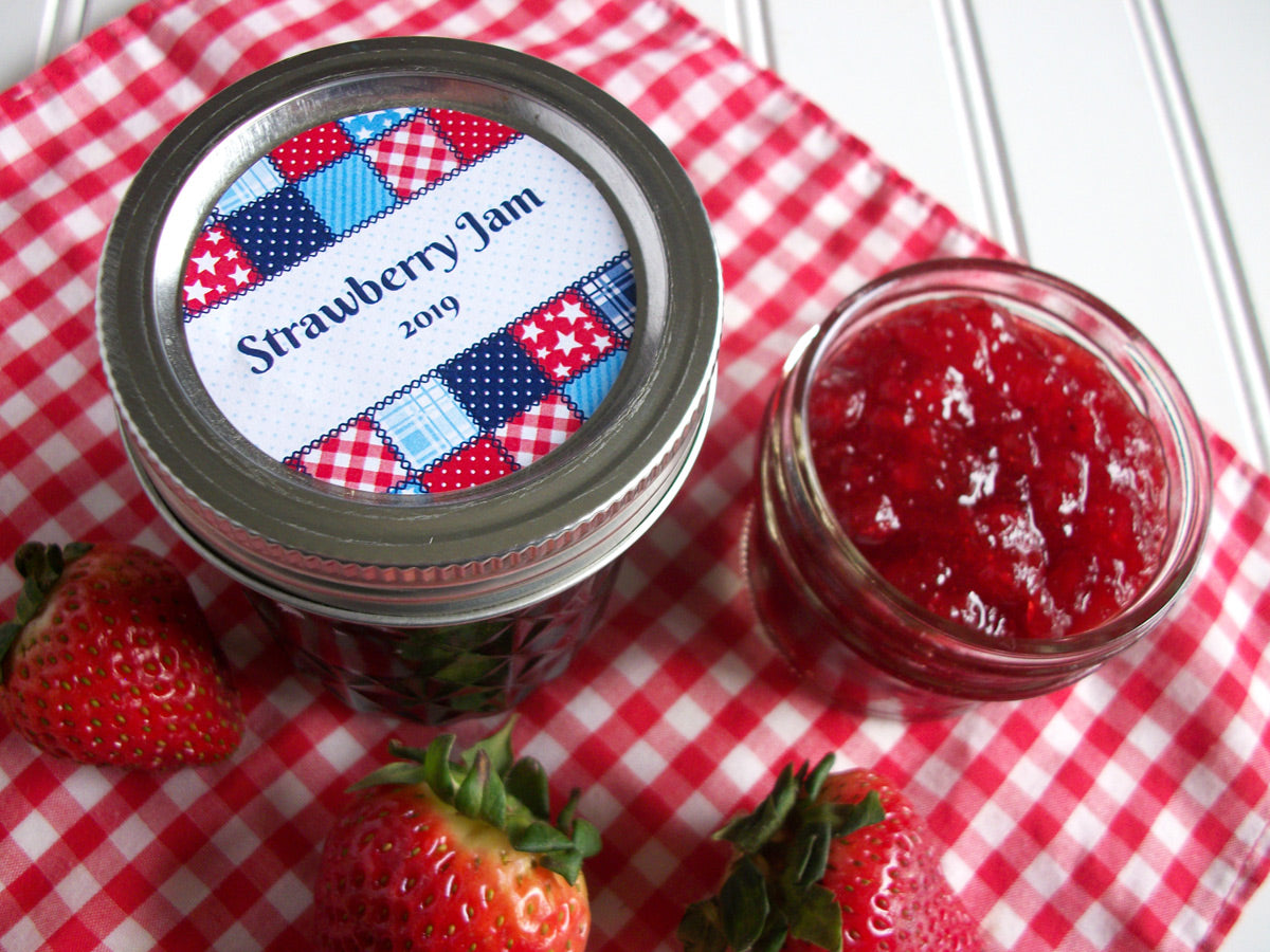 Custom Country Quilt Canning Jar Labels | CanningCrafts.com
