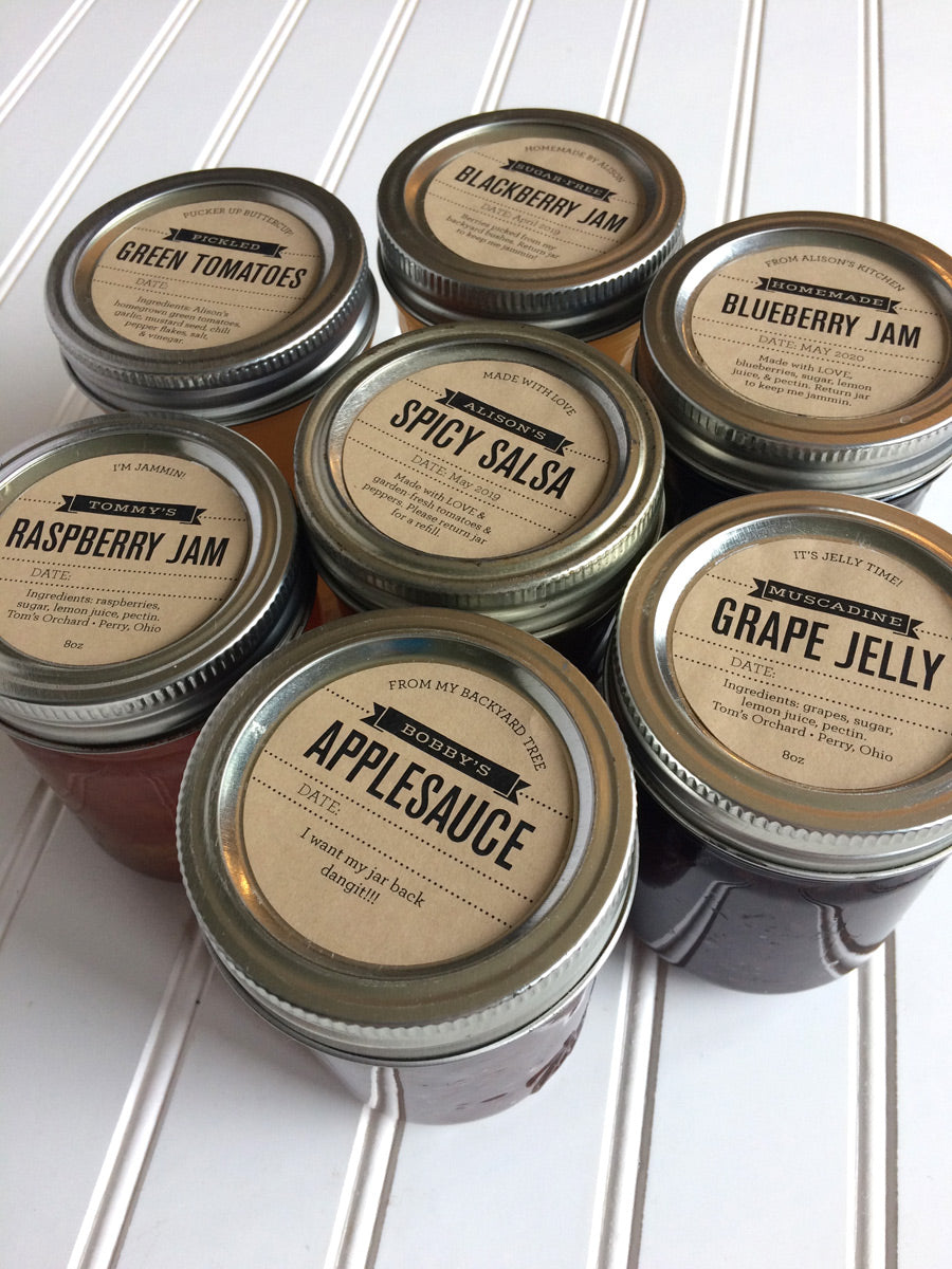 Custom Foodie's Delight Kraft Jam and Jelly Jar Labels for regular and wide mouth mason canning  jar lids | CanningCrafts.com