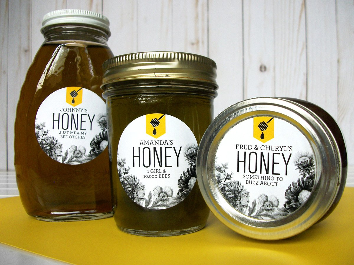 Custom Honey Dipper Honey Bottle & Jar Labels | CanningCrafts.com