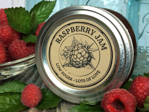 Custom Kraft Apothecary Raspberry Jam Canning Labels | CanningCrafts.com