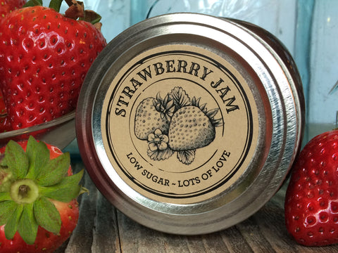 Custom Kraft Apothecary Strawberry Jam Canning Labels | CanningCrafts.com