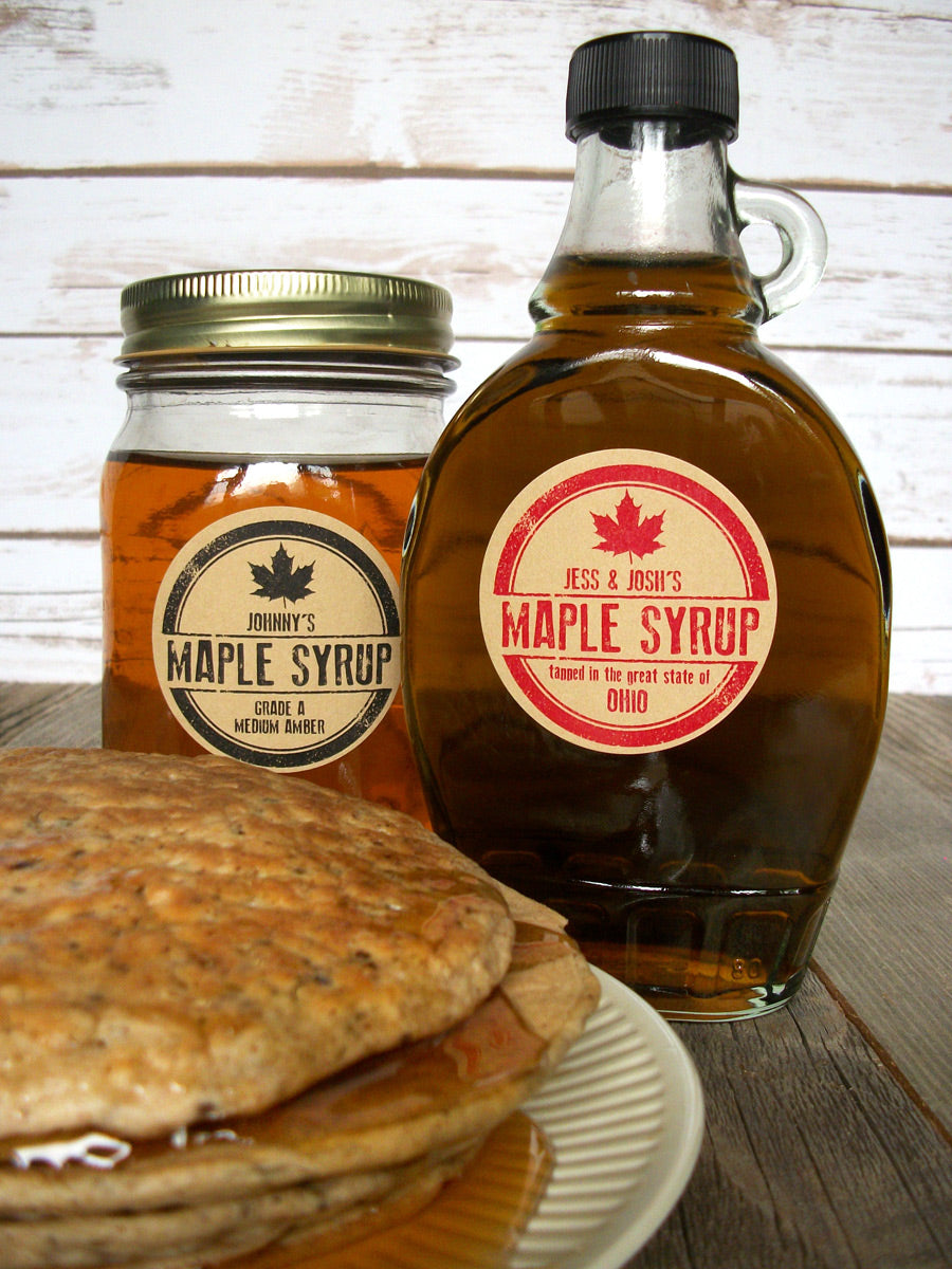 Custom Kraft Rubber Stamp Maple Syrup Labels | CanningCrafts.com
