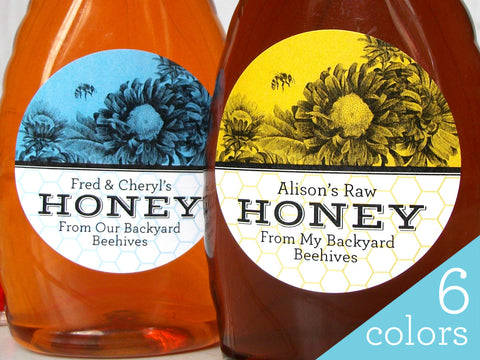 Custom Vibrant Floral Honey Labels | CanningCrafts.com