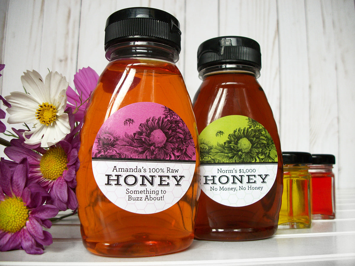 Custom Vibrant Floral Honey Bottle Labels | CanningCrafts.com