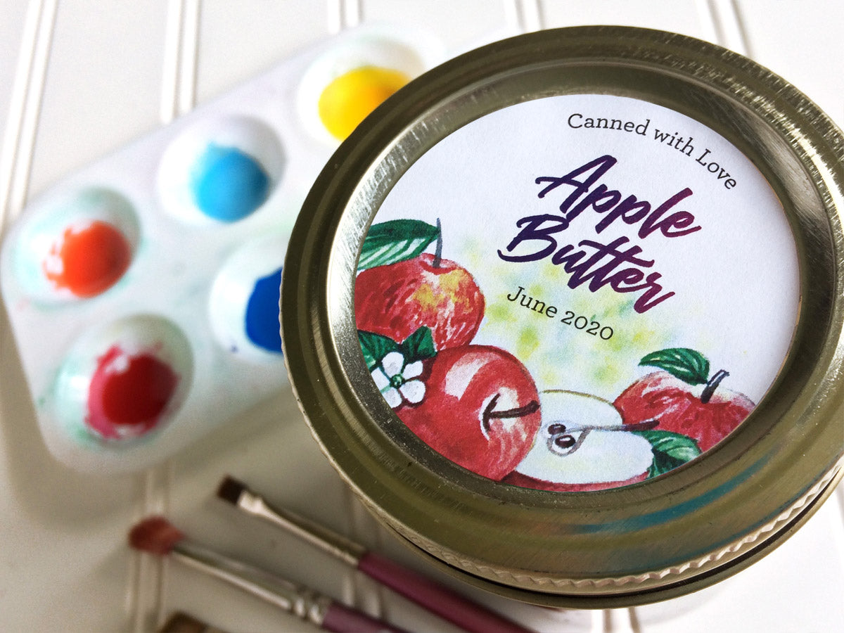 Custom Watercolor Apple Butter Canning Labels | CanningCrafts.com