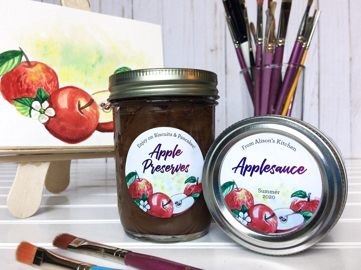Custom Watercolor Apple Preserves and Applesauce Canning Labels | CanningCrafts.com