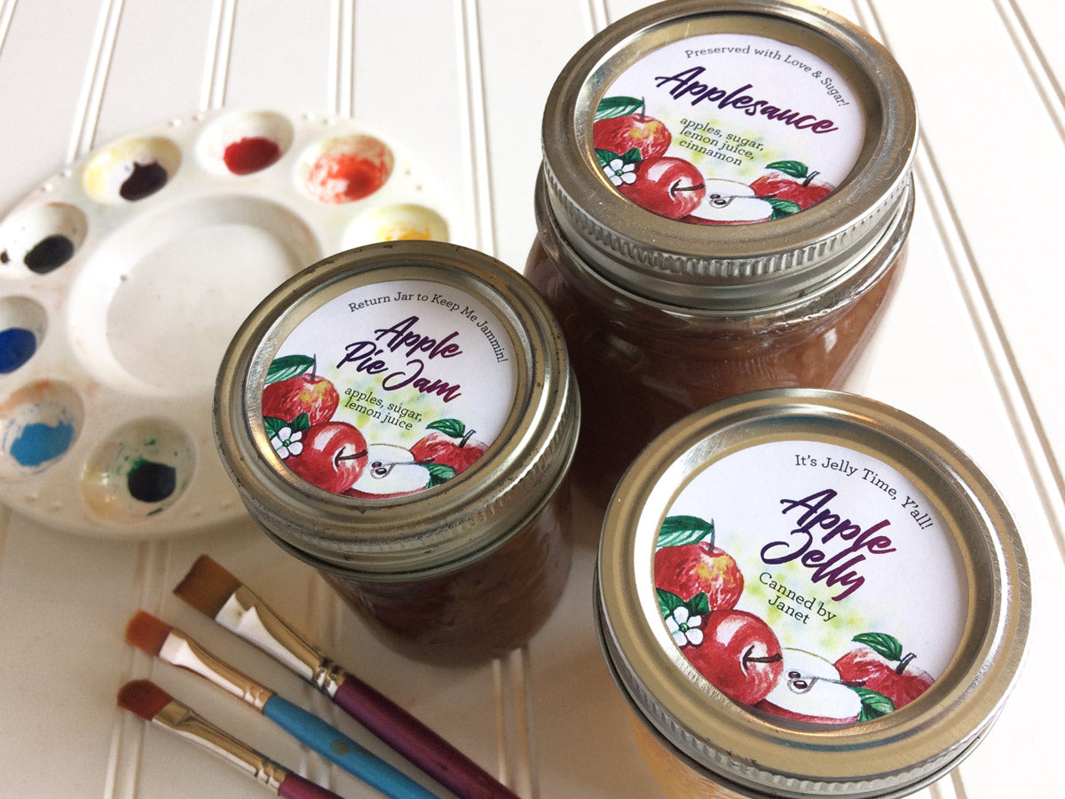 Custom Watercolor Apple Pie Jam, Apple Jelly, and Applesauce  Canning Labels for regular and wide mouth mason jar lids | CanningCrafts.com