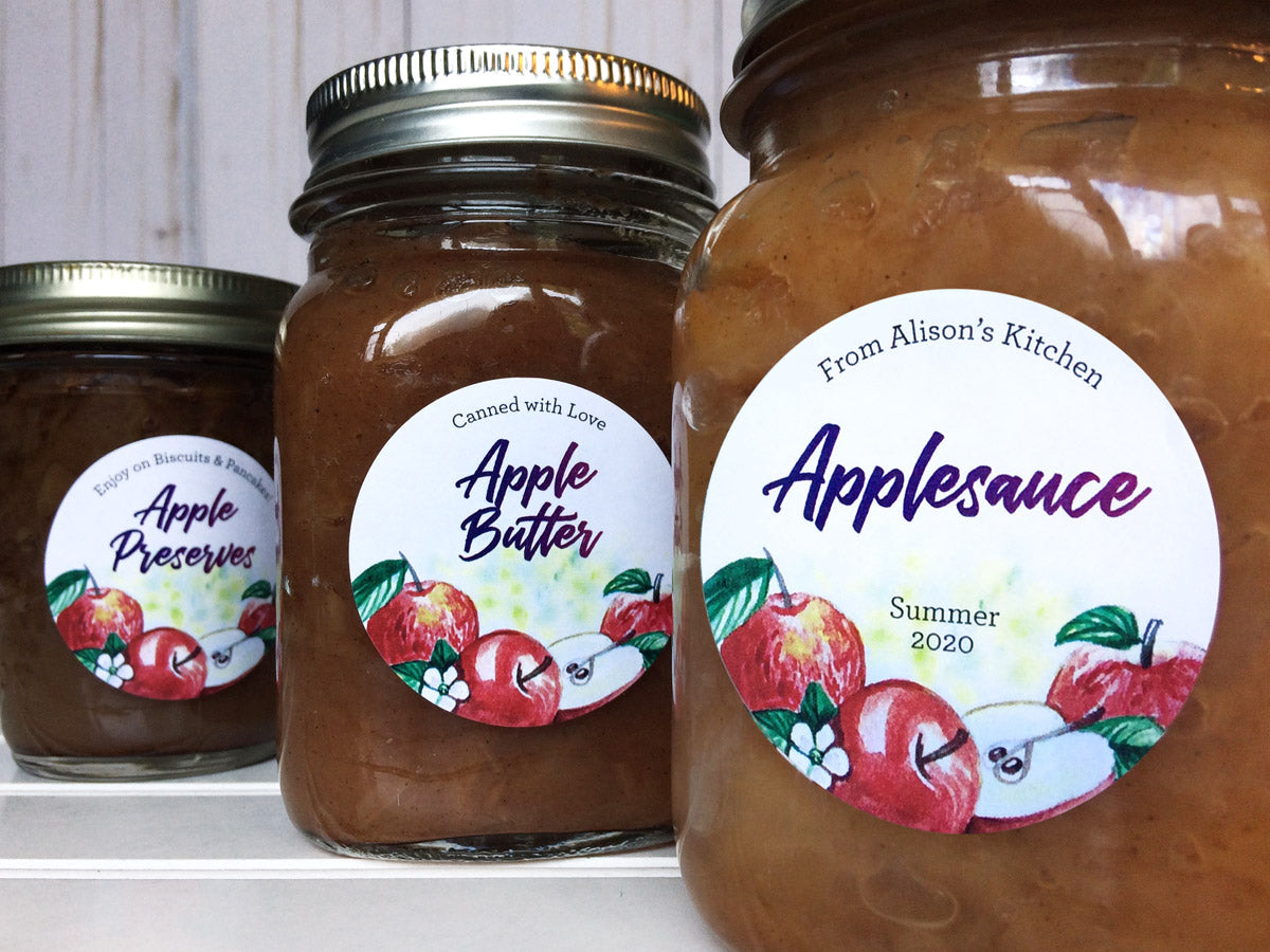 Custom Watercolor Apple Preserves, Apple Butter, and Applesauce Mason Canning Jar Labels | CanningCrafts.com