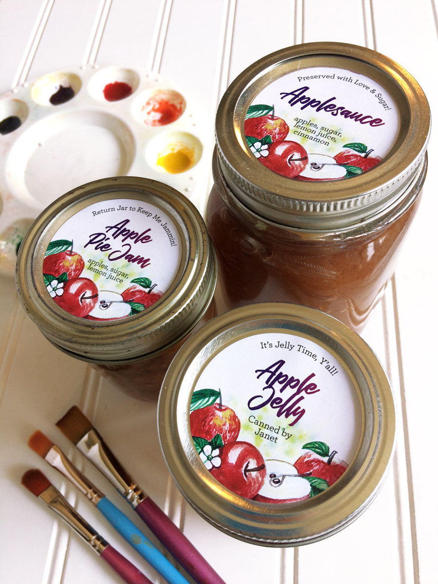 Custom Watercolor Apple Pie Jam, Apple Jelly, and Applesauce Canning Labels | CanningCrafts.com