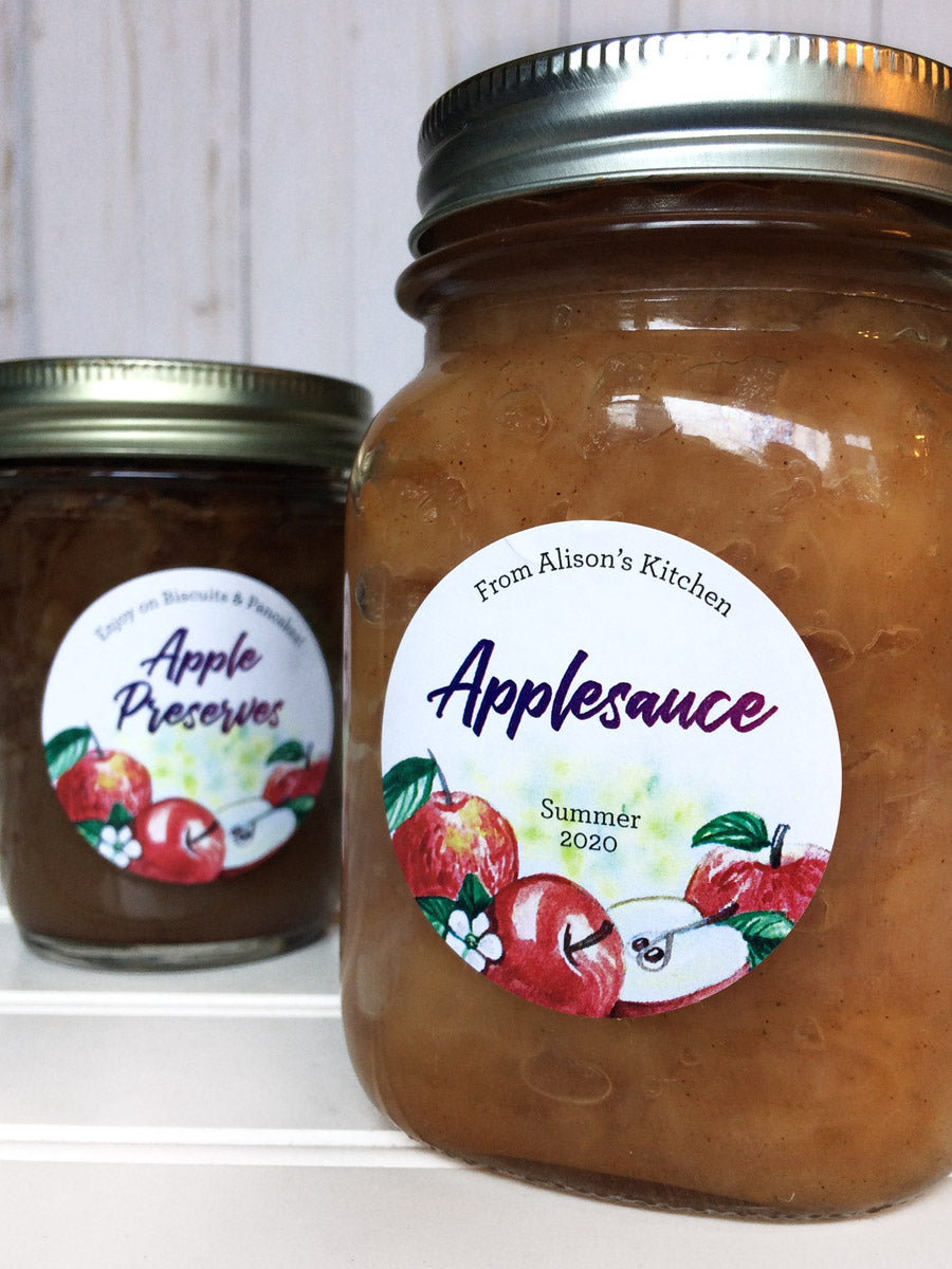 Custom Watercolor Applesauce Canning Labels | CanningCrafts.com