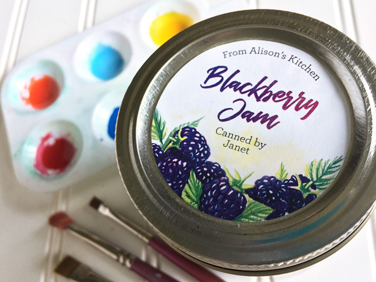 Custom Watercolor Blackberry Jam Canning Labels | CanningCrafts.com