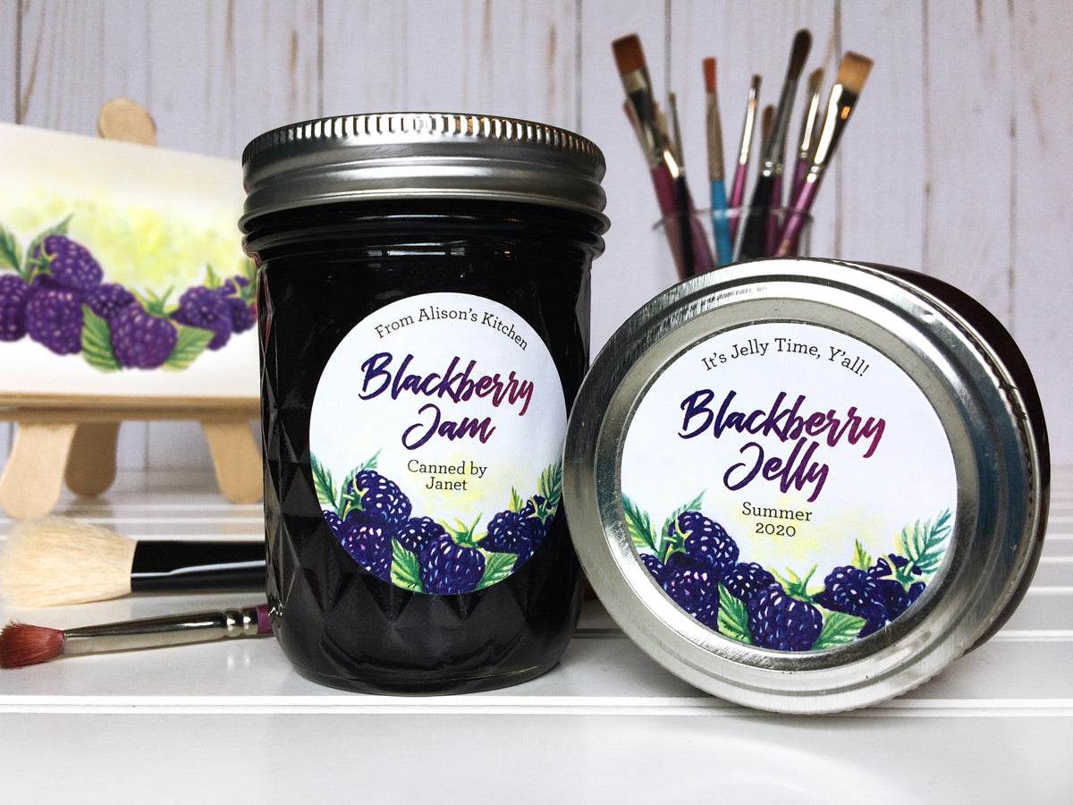 Custom Watercolor Blackberry Jam & Jelly Canning Labels | CanningCrafts.com