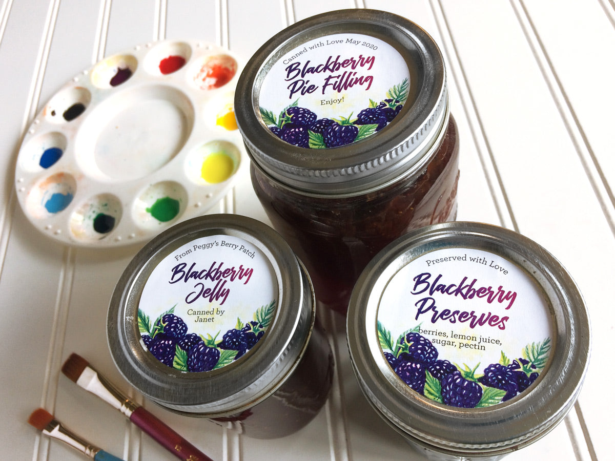 Custom Watercolor Blackberry Jelly and Preserves Mason Canning Jar Labels | CanningCrafts.com