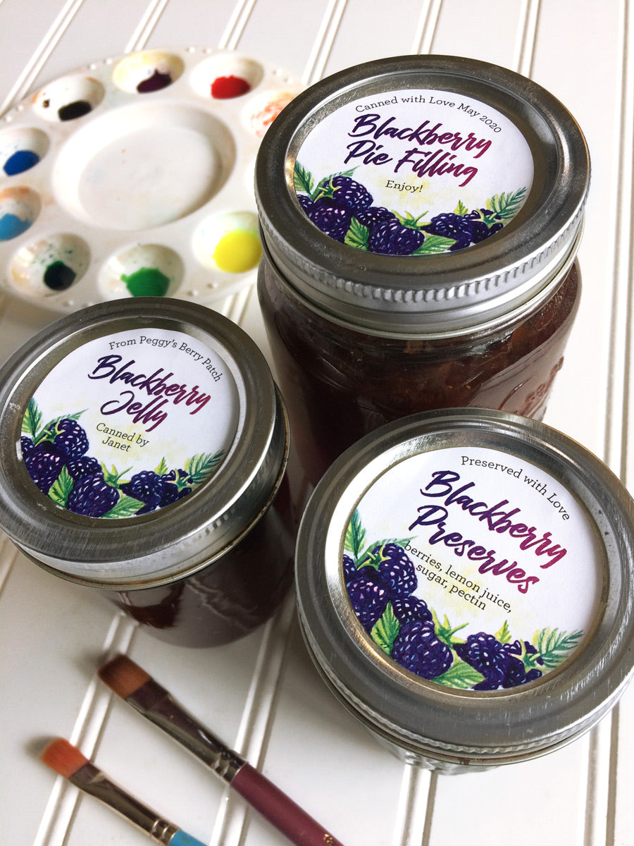 Custom Watercolor Blackberry Jelly and Preserves Mason Canning Jar Labels for regular and wide mouth jar lids | CanningCrafts.com