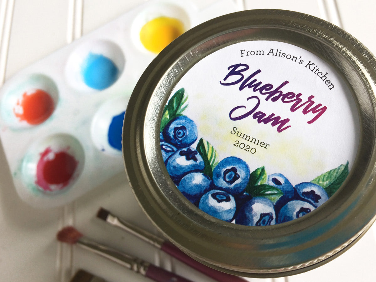 Custom Watercolor Blueberry Jam Canning Labels | CanningCrafts.com