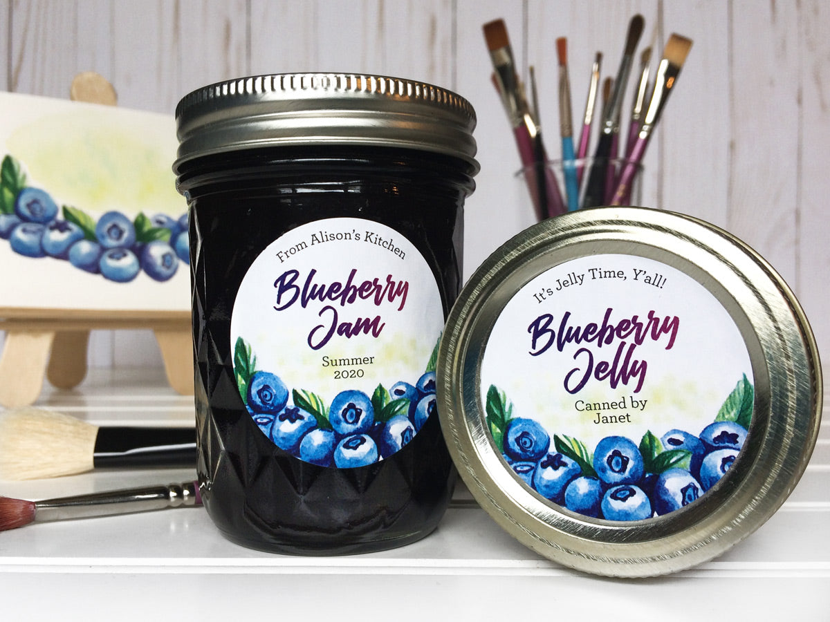 Custom Watercolor Blueberry Jam and Jelly Canning Jar Labels | CanningCrafts.com