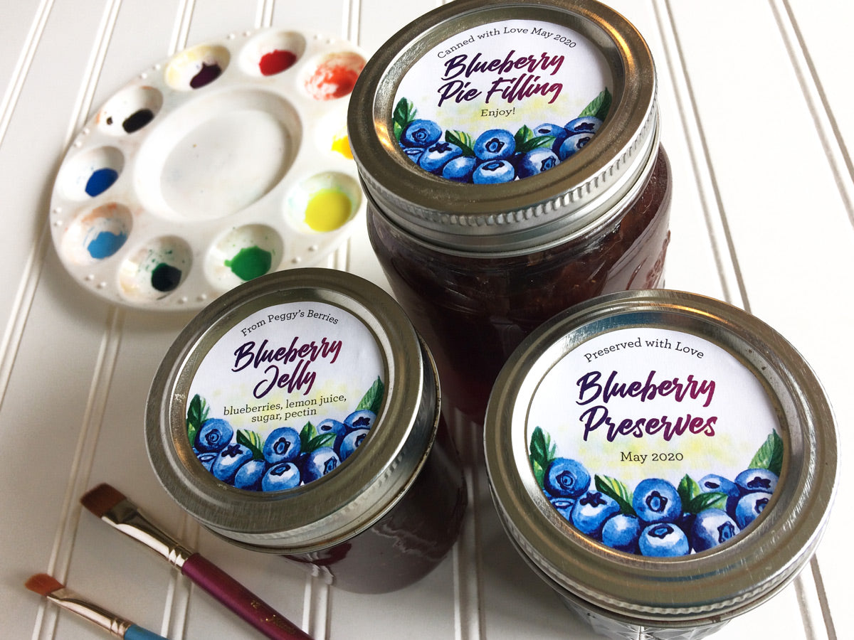 Custom Watercolor Blueberry Canning Labels for jam, jelly, preserves, and pie filling | CanningCrafts.com