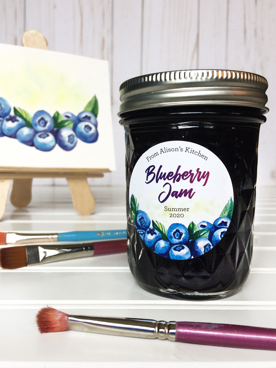 Custom Watercolor Blueberry Jam Jar Labels | CanningCrafts.com