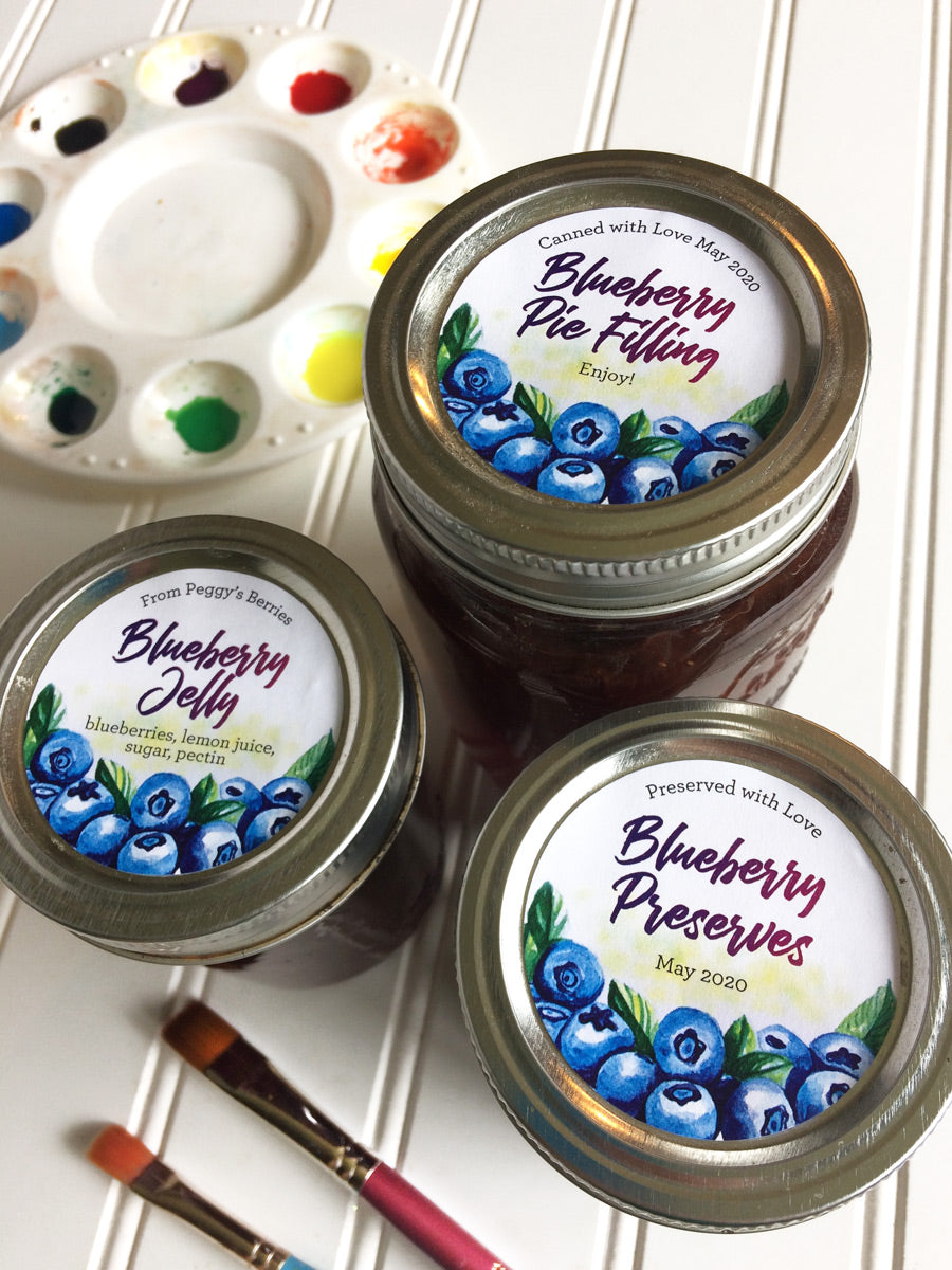 Custom Watercolor Blueberry Mason Canning Jar Labels for home preserved jam, jelly, preserves, and pie filling | CanningCrafts.com