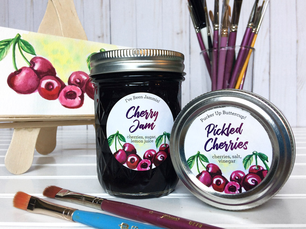 Custom Watercolor Cherry Jam and Pickled Cherries Canning Labels | CanningCrafts.com