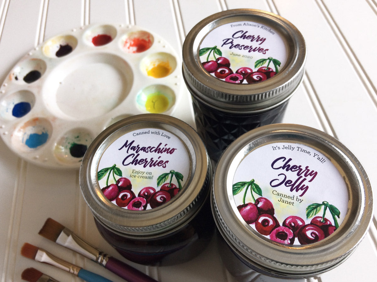 Custom Watercolor Cherry Jelly, Preserves, and Maraschino Cherries Canning Labels | CanningCrafts.com