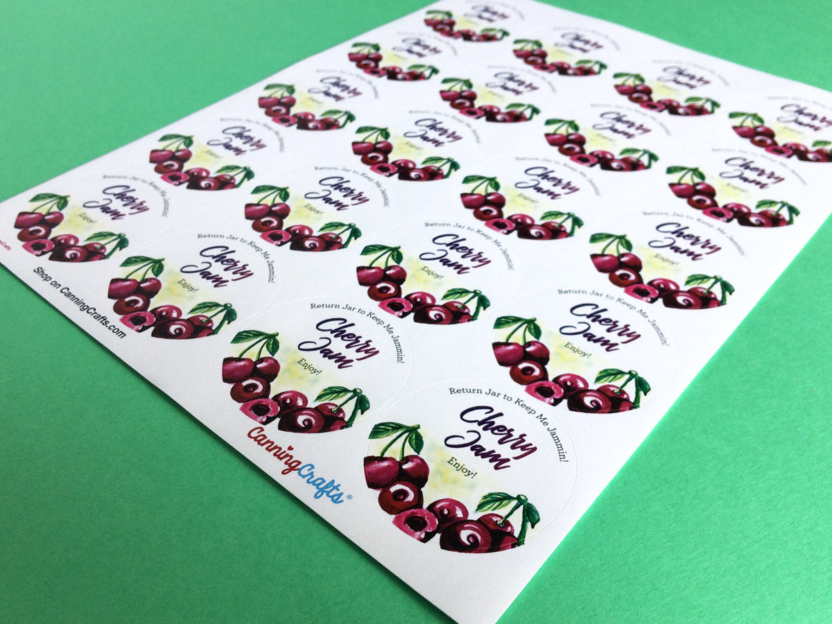 Custom Watercolor Cherry Jam Canning Labels | CanningCrafts.com