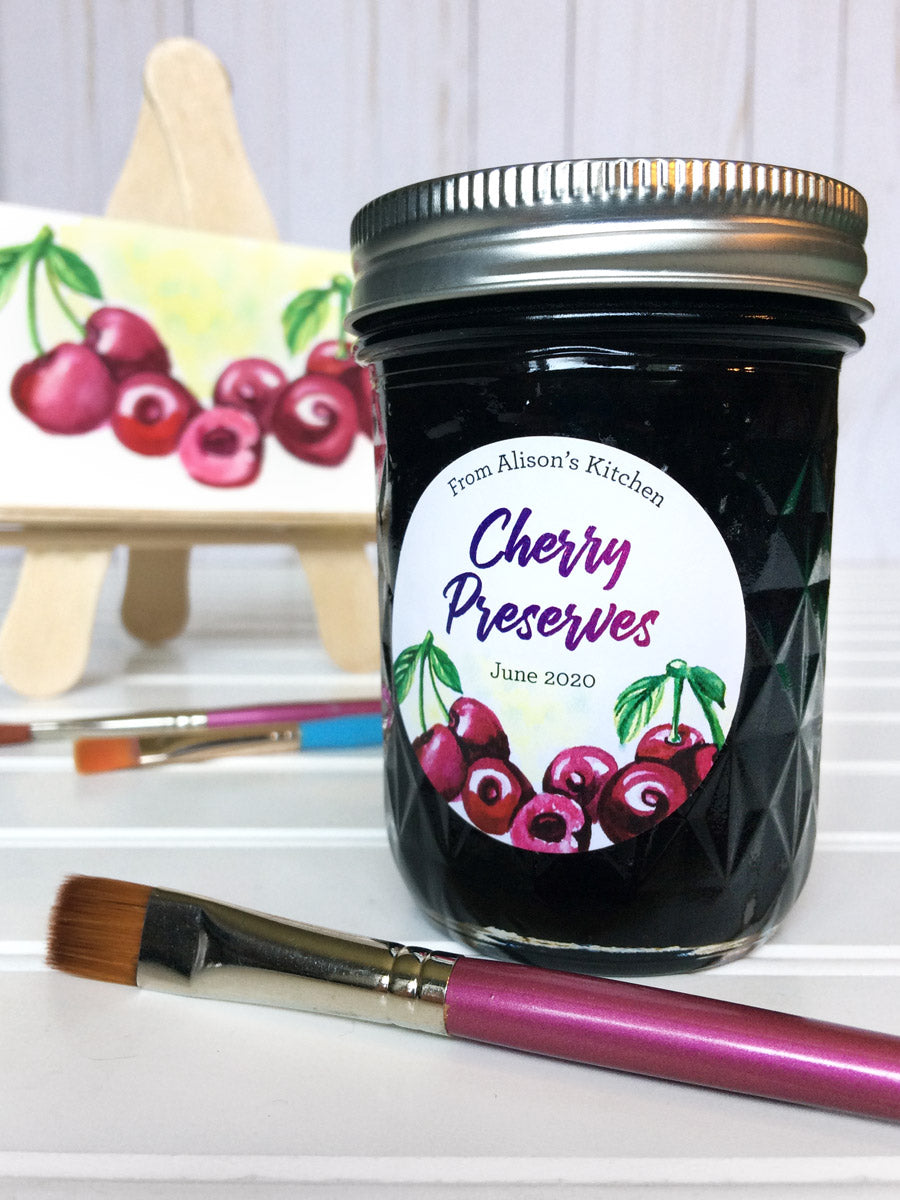 Custom Watercolor Cherry Preserves Canning Jar Labels | CanningCrafts.com