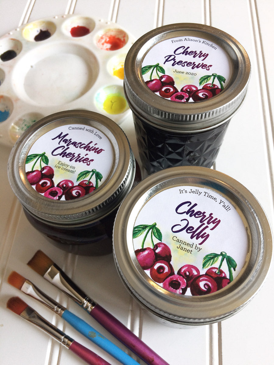 Custom Watercolor Cherry Jelly, Preserves, and Maraschino Cherries Mason Canning Jar Labels | CanningCrafts.com
