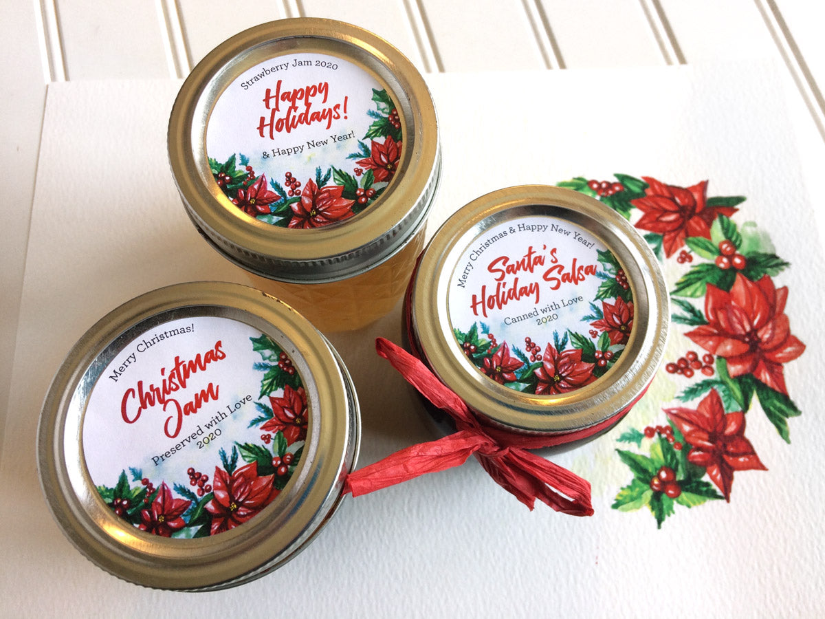 Custom Watercolor Christmas Mason Canning Jar Labels | CanningCrafts.com