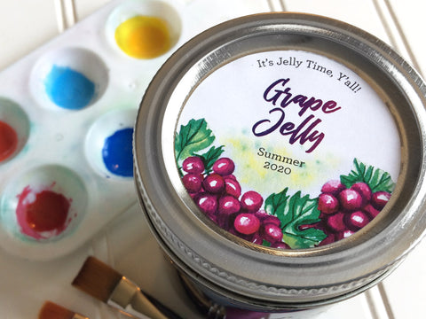 Custom Watercolor Grape Jelly Canning Labels | CanningCrafts.com