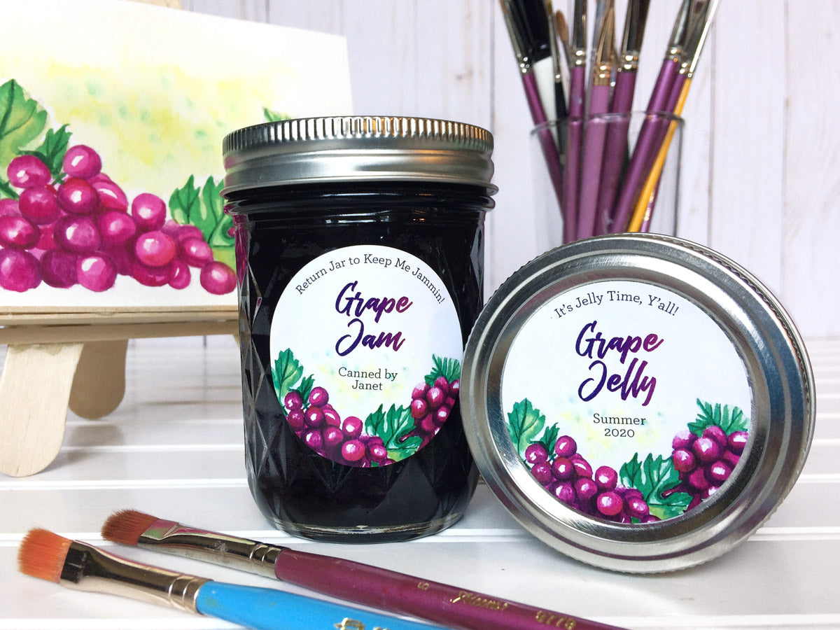 Custom Watercolor Grape Jelly and Jam Canning Labels | CanningCrafts.com