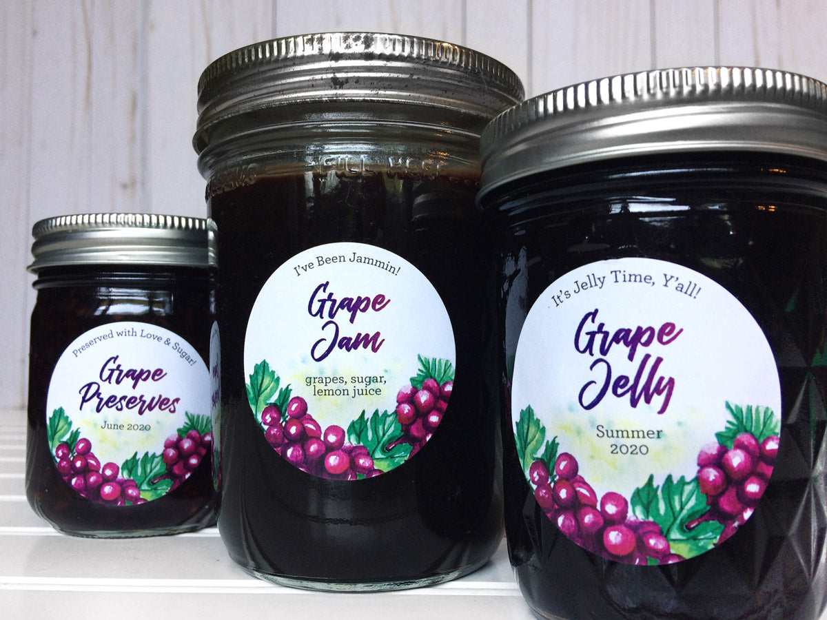 Custom Watercolor Grape Jelly, Jam, and Preserves Canning Labels | CanningCrafts.com