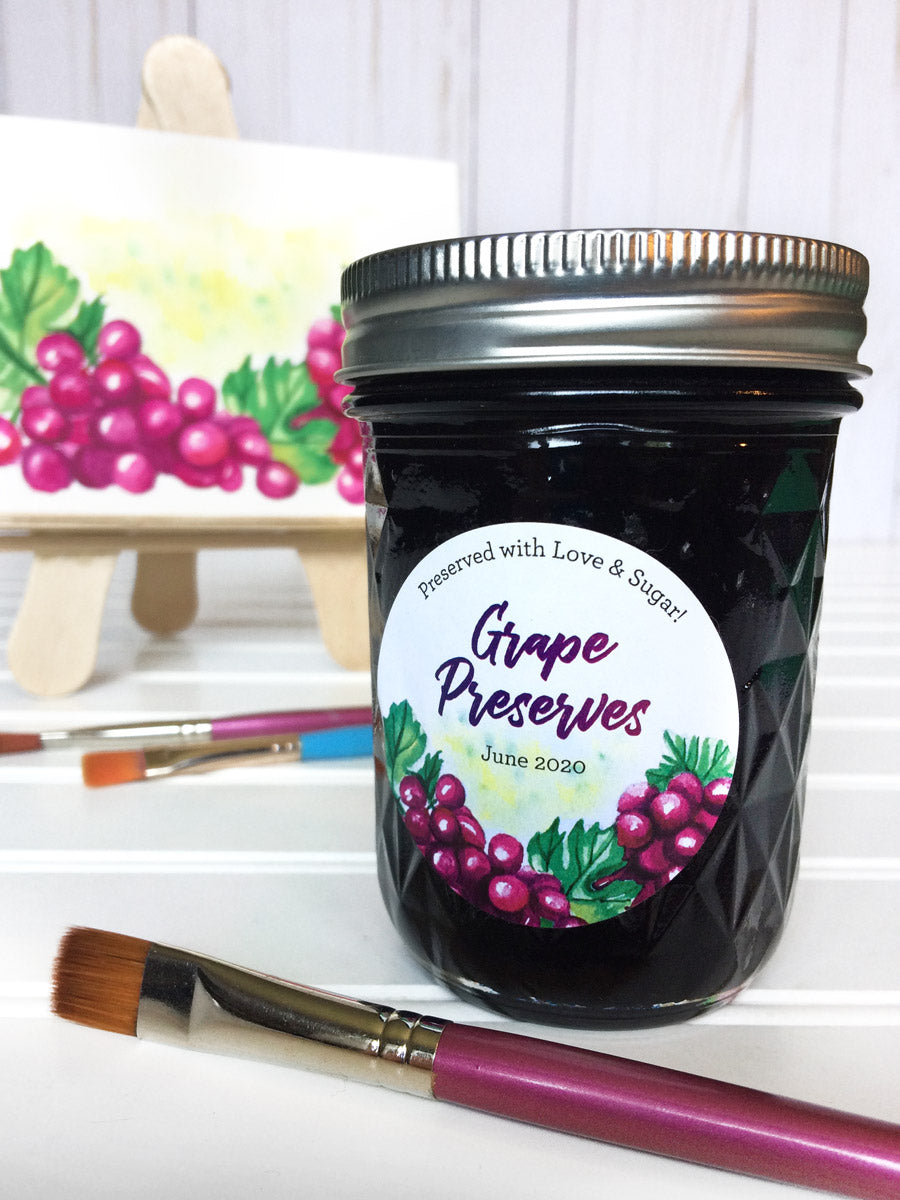 Custom Watercolor Grape Preserves Canning Labels | CanningCrafts.com