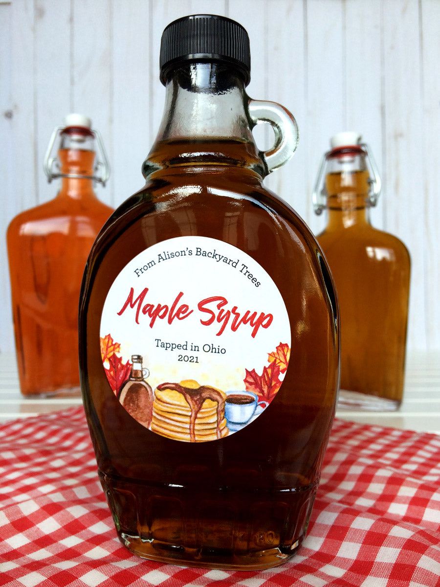 Custom Watercolor Maple Syrup Bottle Labels | CanningCrafts.com