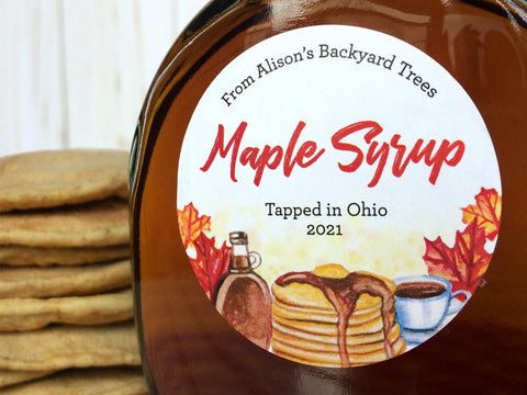 Custom Watercolor Maple Syrup Labels | CanningCrafts.com