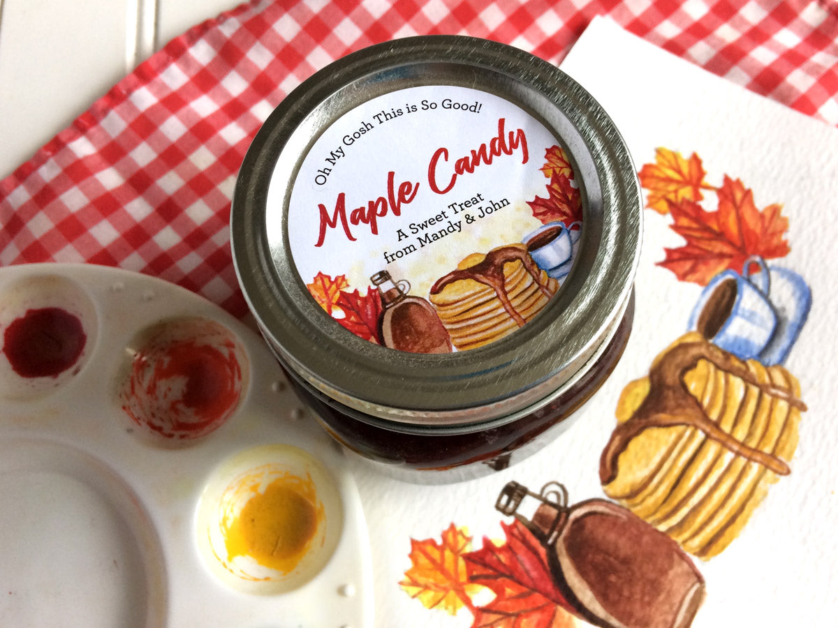 Custom Watercolor Maple Syrup and Candy Labels | CanningCrafts.com