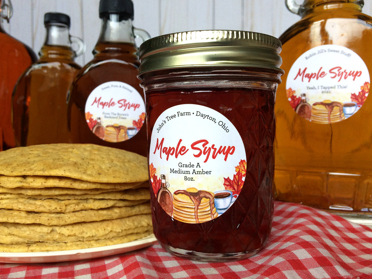 Custom Watercolor Maple Syrup Bottle and Mason Jar Labels | CanningCrafts.com