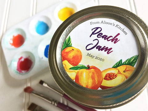 Custom Watercolor Peach Jam Canning Labels | CanningCrafts.com