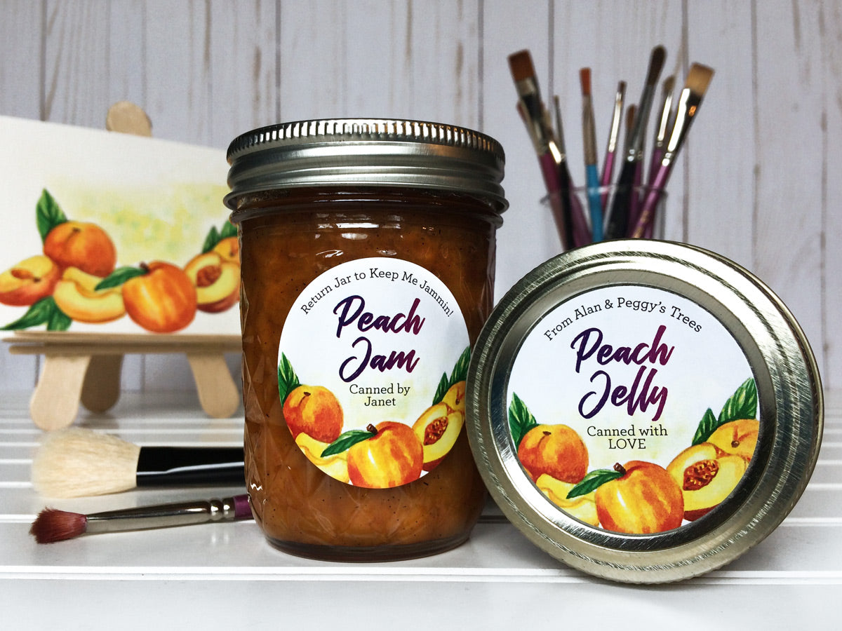 Custom Watercolor Peach Jam and Jelly Canning Labels | CanningCrafts.com